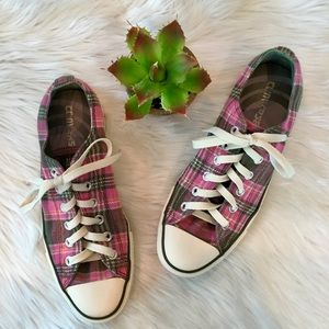 Converse Pink Gray Plaid All Star Sneakers, 9
